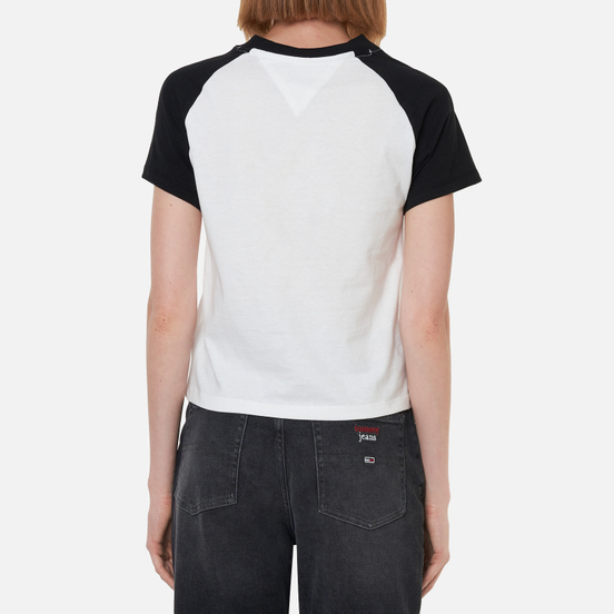 Женская футболка Tommy Jeans Raglan Sleeve Organic Cotton Cropped Black/White