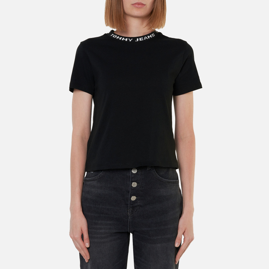 Женская футболка Tommy Jeans Logo Neck Organic Cotton Cropped Black
