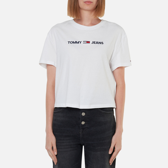 Женская футболка Tommy Jeans Organic Cotton Modern Linear Logo White