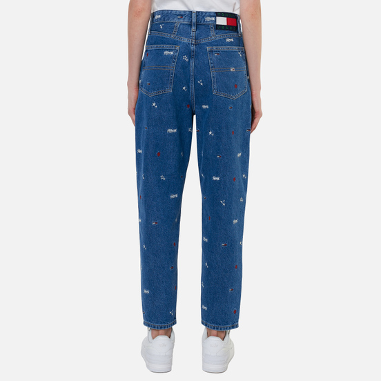 Женские джинсы Tommy Jeans Recycled Embroidery High Rise Mom Star Critter Blue Rigid