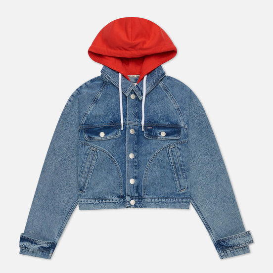 Женская джинсовая куртка Tommy Jeans Hoody Neck Cropped Denim Marcia Mid Blue Rigid