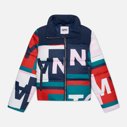 Женский пуховик Tommy Jeans Colour-Blocked Puffer Tommy All Over Print