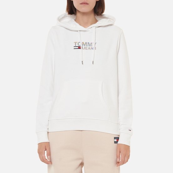 Женская толстовка Tommy Jeans Slim Metal Corp Logo Hoodie White