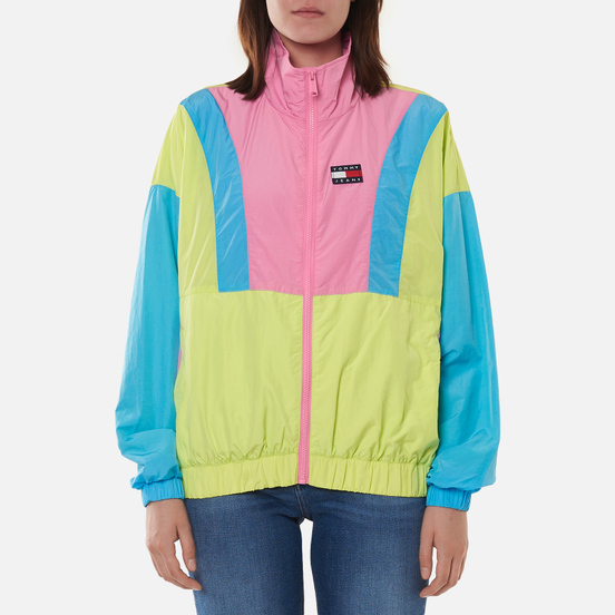 Женская куртка ветровка Tommy Jeans Colour-Blocked Tommy Badge Windbreaker Faded Lime/Multi
