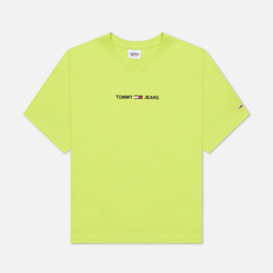 Женская футболка Tommy Jeans Logo Embroidery Organic Cotton Neo Lime