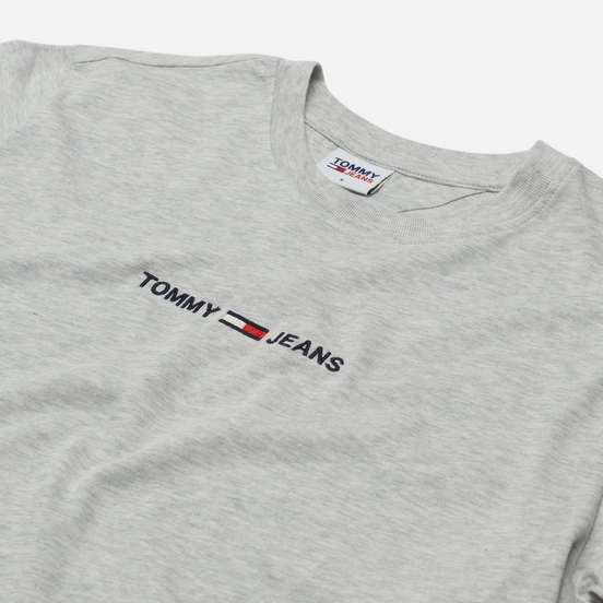 Женская футболка Tommy Jeans Logo Embroidery Organic Cotton Silver Grey Heather