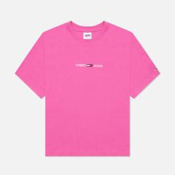 Женская футболка Tommy Jeans Logo Embroidery Organic Cotton Vivid Fuchsia
