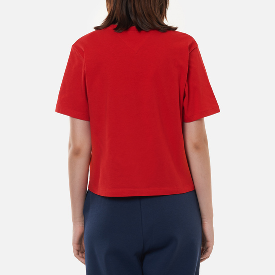 Женская футболка Tommy Jeans Logo Embroidery Organic Cotton Deep Crimson