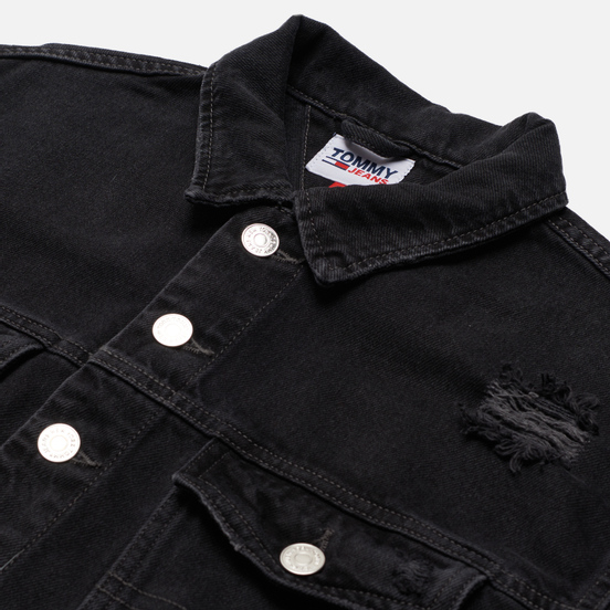 Женская джинсовая куртка Tommy Jeans Tommy Badge Cropped Denim 11.5 Oz Trucker Save Black