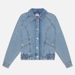 Женская джинсовая куртка Tommy Jeans Back Logo Cropped Denim Cargo Leon Light Blue