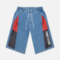 Женские шорты Tommy Jeans Colour-Blocked Panels Baggy Denim Fame Mix Light Blue Rigid фото - 0