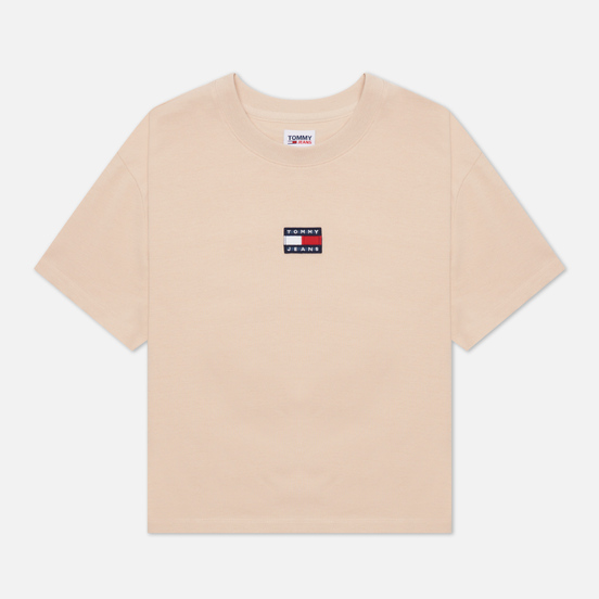 Женская футболка Tommy Jeans Tommy Center Badge Smooth Stone