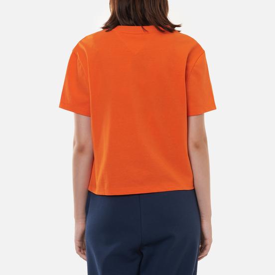 Женская футболка Tommy Jeans Tommy Center Badge Washed Orange