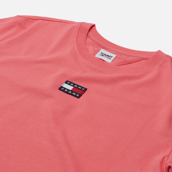 Женская футболка Tommy Jeans Tommy Center Badge Botanical Pink