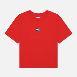 Женская футболка Tommy Jeans Tommy Center Badge Crew Neck Deep Crimson