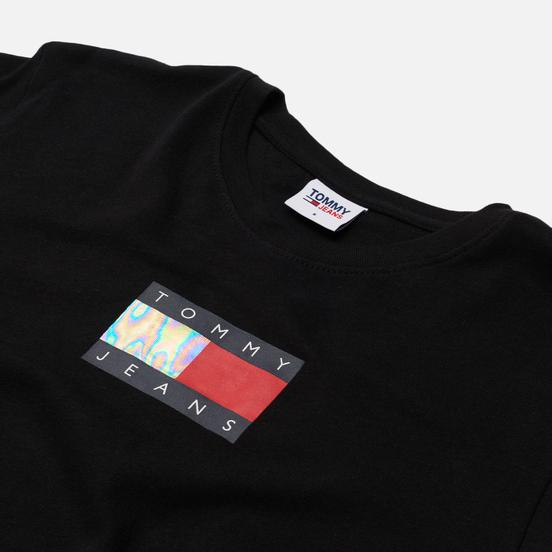 Женская футболка Tommy Jeans Crop Metallic Flag Black