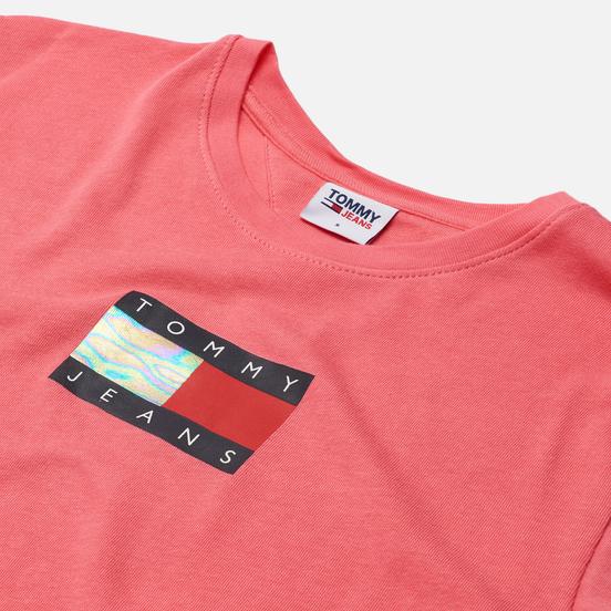 Женская футболка Tommy Jeans Crop Metallic Flag Botanical Pink