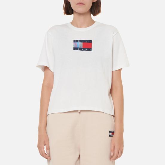 Женская футболка Tommy Jeans Crop Metallic Flag White