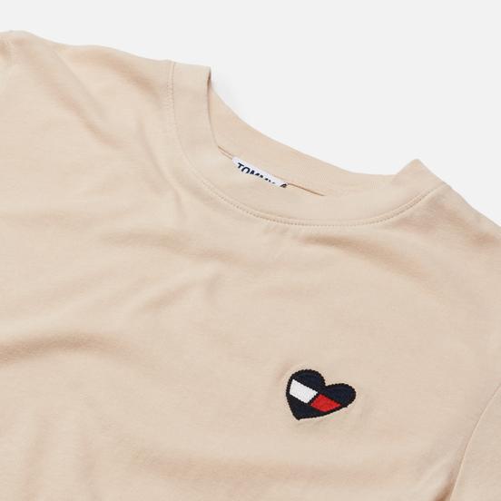 Женская футболка Tommy Jeans Regular Homespun Heart Smooth Stone