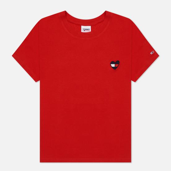 Женская футболка Tommy Jeans Regular Homespun Heart Deep Crimson