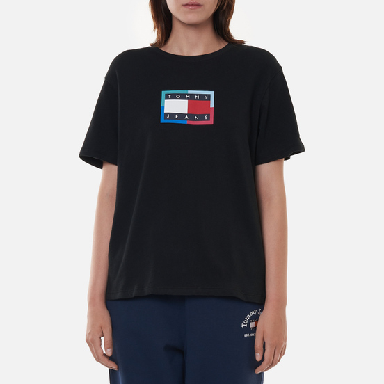 Женская футболка Tommy Jeans Relaxed Multi Flag Black