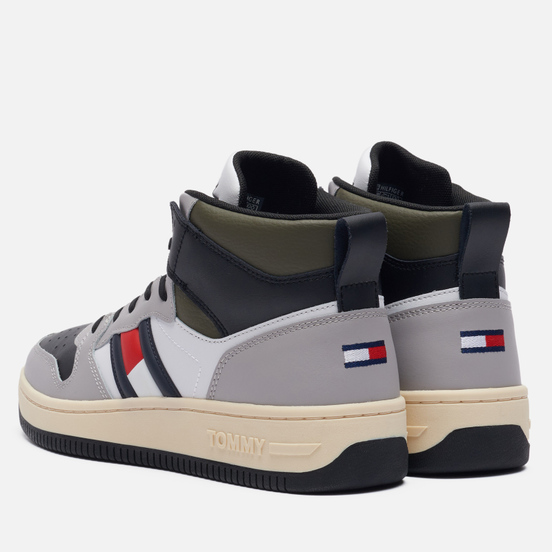 Мужские кроссовки Tommy Jeans High-Top Cupsole Leather Basketball Trainers Sterling Grey