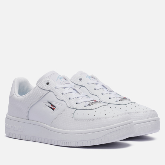 Женские кроссовки Tommy Jeans Textured Leather Basket Cupsole White
