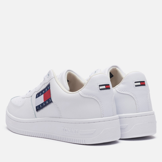 Женские кроссовки Tommy Jeans Leather Badge Cupsole Basketball Trainers White