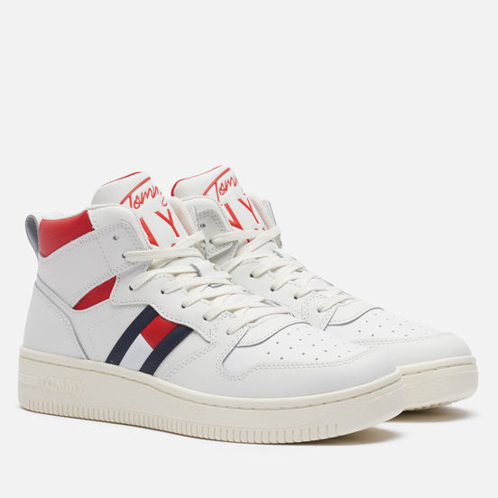 Женские кроссовки Tommy Jeans Leather High-Top Basketball Trainers Ecru