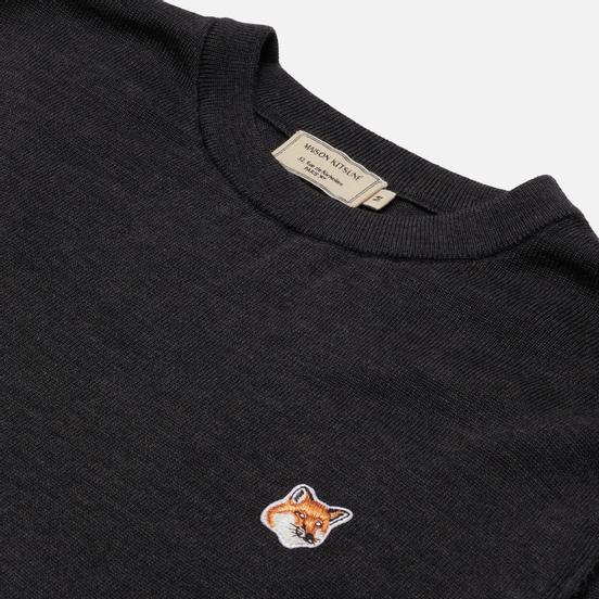 Мужской свитер Maison Kitsune Fox Head Patch Regular R-Neck Anthracite Melange