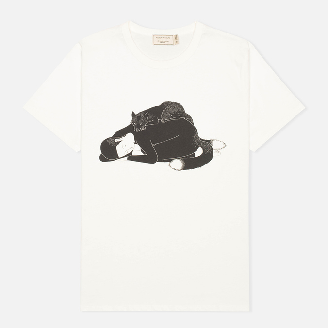 Мужская футболка Maison Kitsune Moonassi Cuddle White