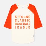 Reebok x Maison Kitsune Baseball Tee Men's T-shirt CWhite/BOrange photo- 0