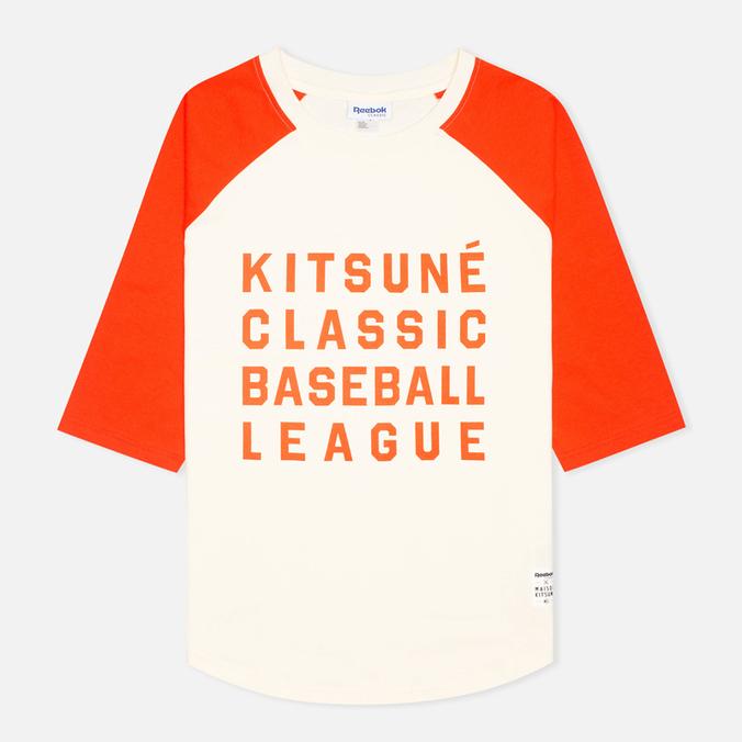 Reebok x Maison Kitsune Baseball Tee Men's T-shirt CWhite/BOrange