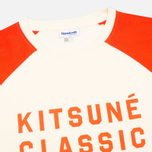 Reebok x Maison Kitsune Baseball Tee Men's T-shirt CWhite/BOrange photo- 1