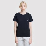 Женская футболка Maison Kitsune Tricolor Fox Patch Black фото- 4
