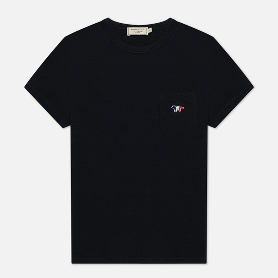 Женская футболка Maison Kitsune Tricolor Fox Patch Black
