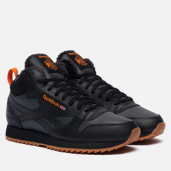 Мужские кроссовки Reebok Classic Leather Mid Ripple Black/True Grey/High Vis Orange