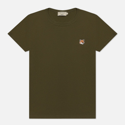 Женская футболка Maison Kitsune Fox Head Patch Khaki