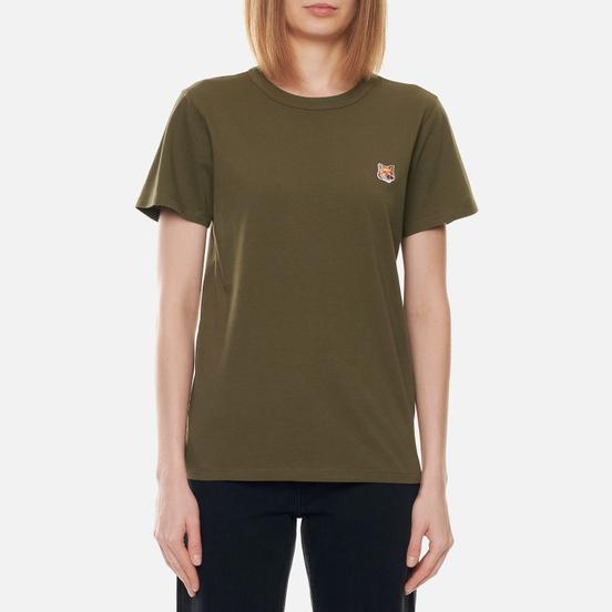 Женская футболка Maison Kitsune Fox Head Patch Khaki