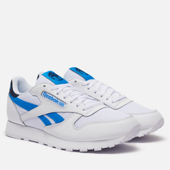 Кроссовки Reebok Classic Leather White/Horizon Blue/Vector Navy