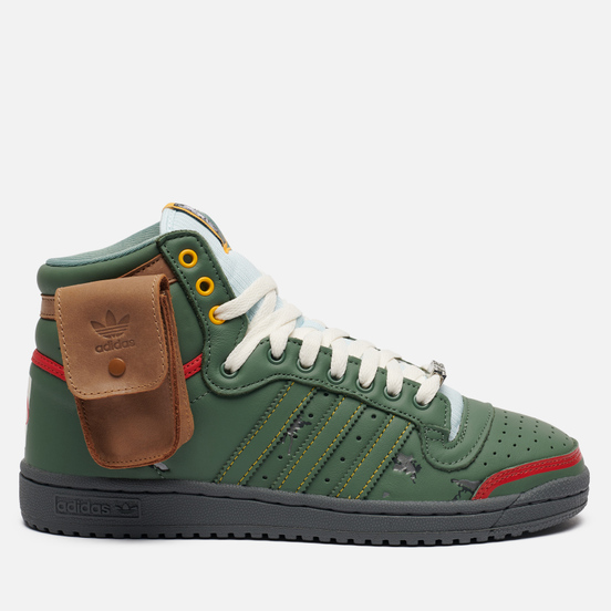 Мужские кроссовки adidas Originals x Star Wars Top Ten Hi Boba Fett Trace Green/Trace Green/Scarlet