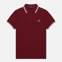 Женское поло Fred Perry G3600 Dark Red/Snow White/Snow White