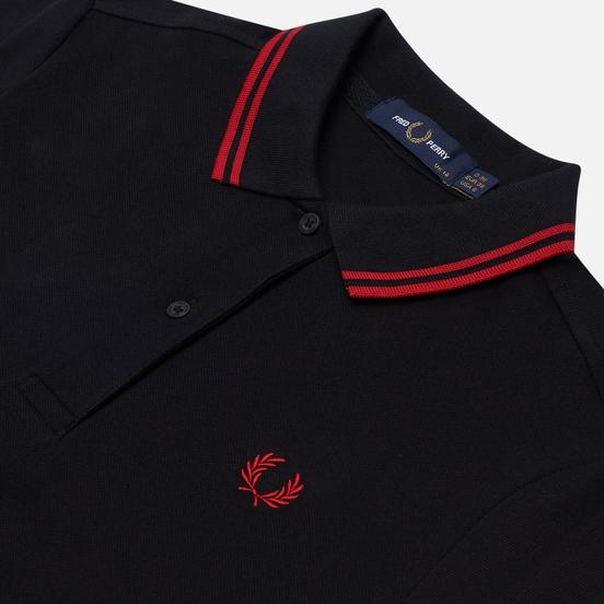 Женское поло Fred Perry G3600 Black/Samba Red/Samba Red