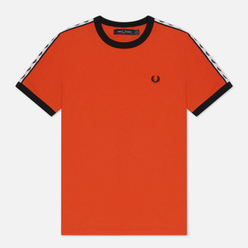 Женская футболка Fred Perry Laurel Sports Authentic Taped Ringer Tangerine Tango