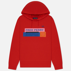 Женская толстовка Fred Perry Colour Block Graphic Print Hoodie Cherry Bomb