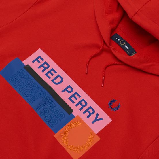 Женская толстовка Fred Perry Colour Block Graphic Print Hoodie Cherry Bomb