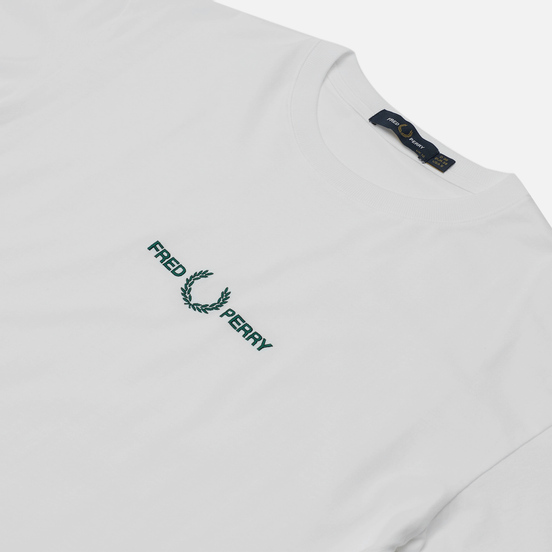 Женская футболка Fred Perry Branded Tape Embroidered White