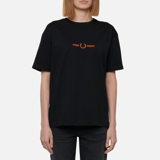 Женская футболка Fred Perry Branded Tape Embroidered Black