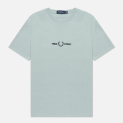 Женская футболка Fred Perry Branded Tape Embroidered Silver Blue
