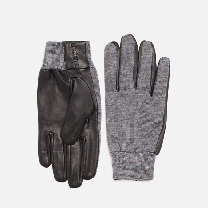Мужские перчатки Lacoste Gloves Wool Leather Grey/Black